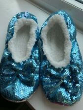 Snoozies blue sequinned slippers size UK 6