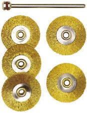 PROXXON 5 x Brass Wire Wheels With Arbor NEW 28962