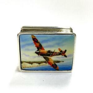 WW2 Raf Spitfire Plane Cliffs of Dover Pill Snuff Box 925 silver