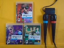 ps3 SINGSTAR Vol 1 + 2 + 3 Games + 2 Wired Singstar Mics Microphones PAL UK