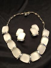 Lisner Vintage Set Necklace Earrings Moonglow Lucite Thermoset Demi Parure