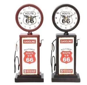 retro petrol gas pump style tin  clock - black