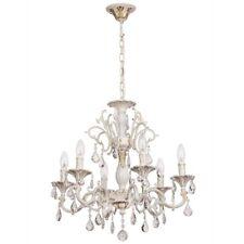 Lampadario pendente barocco classico di metallo colore bianco ed oro cristallo