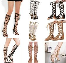 SUMMER WOMEN STILETTO BANDAGE KNEE HIGH GLADIATOR SANDALS STRAPPY BUCKLE SHOES