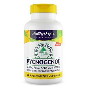 Healthy Origins Pycnogenol 100mg 120 Végétarien Capsules, Anti-oxydant, Cœur