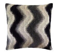 "2 X Grueso Chenille Tejido Zig Zag Haze Oro Negro Gris Crema Cushion Covers 18"""