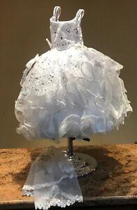 White satin dress for baby girl 0-24 months