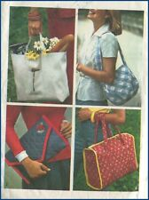 1970s Vintage 4 Styles Fabric Shoulder Bag Tote Purse Clutch Sewing Pattern