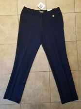NWT Womens Anne Klein Straight Leg Woven Pants Midnight Blue Size 4 Retail $89