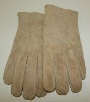 Vintage Tan Cowhide Leather Gloves Pile Lined Ladies Medium EUC