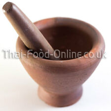 Authentic Thai Earthenware Pestle and Mortar (Laos style) 25cm (CK05) UK Seller