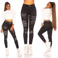 Jeans Damen High Waist Skinny Jeans Jeanshose Used Look mit Schriftzug Print