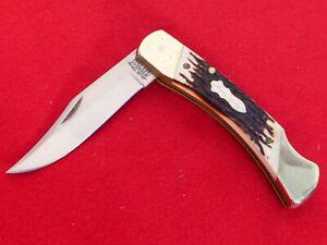"""Schrade USA Uncle Henry staglon 5"""" clip point SS Lockback Knife ld"""