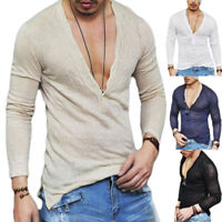 Men's Slim Fit Shirts Deep V-Neck Long Sleeve T-Shirt Tee Blouse Top Casual Sexy