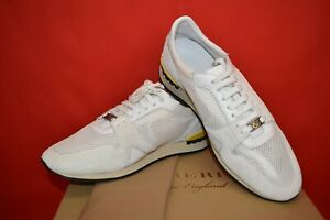 NIB BURBERRY THE FIELD 3D WHITE MESH SUEDE LACE UP LOGO SNEAKERS 44.5 US 11.5
