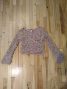 Free People Size XS fuzzy Cropped Bell Sleeve Sweater tan brown boho wrap vneck