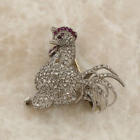 Vintage Platinum Diamond and Ruby Rooster Brooch