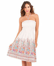 Ladies Summer Strapless/Bandeau Cotton Beach Sun Dress/Maxi Skirt Size 8-22 NEW