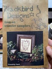 Cross Stitch Stamped Blackbird Designs Iron On Sampler Friendship Heart Transfer
