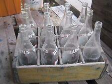 Vintage Blum's Taylor's Beverages Galena IL 12 pc empty bottles & wood crate