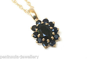 9ct Gold Sapphire Cluster Pendant and Chain Gift Boxed necklace Made in UK
