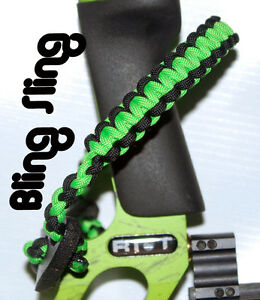 Neon green black Archery Bow wrist strap FREE SHIPPING Bling Sling