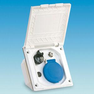 Caravan White External Utility Box for TV / SAT 12v and Continental Socket PO121