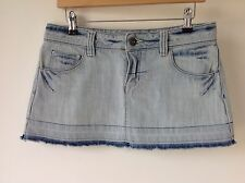 TOPSHOP SIZE 10 BLUE DENIM LADIES SKIRT FESTIVAL HOLIDAY BOHO HIPPY CASUAL BEACH