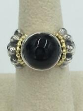 NWT Lagos Caviar Glacier Classic Sterling Silver 18K Gold Onyx Ring Size 7