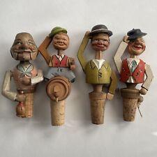 4 Vtg Mechanical Carved Wood Men Cork Bottle Stoppers Anri ? Hats Keg Drinking