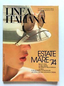 Linea Italiana n. 47 Maggio 1974 Estate Mare Costumi da bagno Beachwear Righe