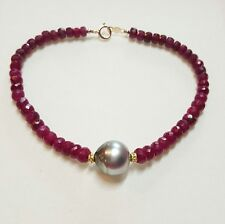 Genuine 15ct Ruby Gray Tahitian pearl solid 14k gold bracelet