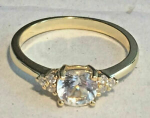 White Sapphire Ring Natural Gemstone Solid Sterling Silver S925 Size 6 - 7.5 US