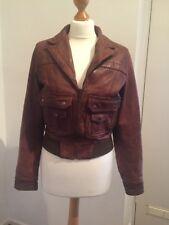 Gorgeous Vintage Brown Leather Jacket Topshop Size 10