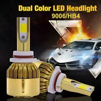 9006 HB4 LED Headlight Kit 6000K/3000K Fog Light Bulbs Dual Color 9600LM 76W New