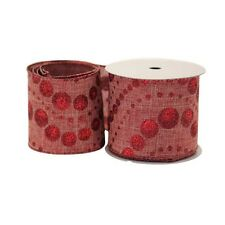 Luxury Christmas Natural Red Glitter Fabric Wired Hessian Ribbon - 1m length