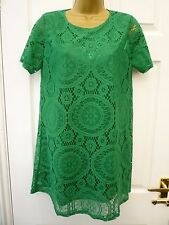 HERAMAY Green Ladies Size 10 12 Short Sleeve Lace Layered Long Tunic Top Lined