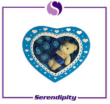 Valentine's Day Gift - Gift Box with Artificial Flower and Toy Bear - Blue