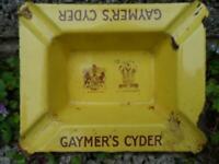 Vintage Gaymer's cyder enamel ashtray - antique yellow advertising pub