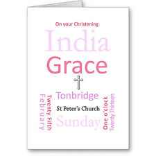 Unique Personalised Typographic Christening card / gift. Boy / Girl.