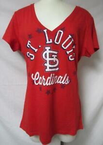 St. Louis Cardinals Women's Size XL Rhinestone Accent V-Neck T-Shirt A1 3456