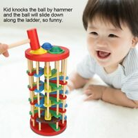 Pound and Roll Wooden Tower With Hammer Knock Ball Falls Off Ladder Kid Toy