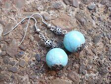 Pendientes de BLANCO con piedra azul