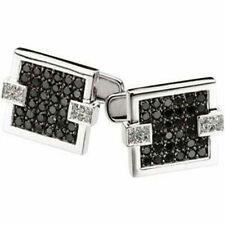 14k White Gold Cuff Link Men's Jewelry Black White Square Man Dad Gift