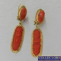 1880s Antique Victorian 14k Yellow Gold Carved Intaglio Coral Hanging Earrings Y