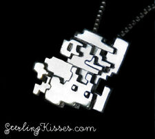 Super Mario Pendant Necklace in Sterling Silver Hand Made Geek Jewelry