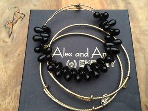 RARE ALEX and ANI JET Black VINTAGE BEADED JUPITER Shiny GOLD Set Of 3 BANGLES