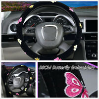 1Pc 38cm Butterfly Embroidery Breathable Auto Car Steering Wheel Cover For Women