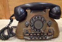 Antique Rotary Dial Phone Ericsson Sweden Copper Brass Bakelit Vintage Telephone