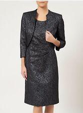 BNWT Size 12 Precis Petite Metallic Black Silver Dress & Jacket Suit